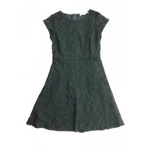 Ann Taylor Loft Green Short Sleeve Lace Mini Dress